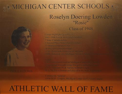 Roselyn Lowden WOF Plaque