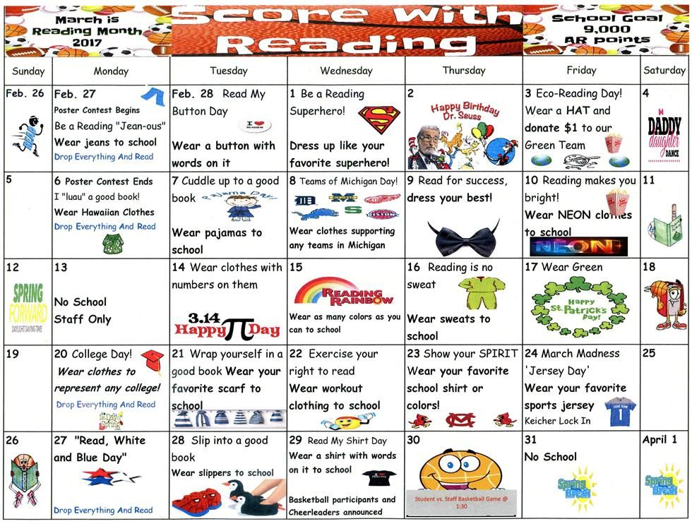 March Is Reading Month Calendar Thumbnail